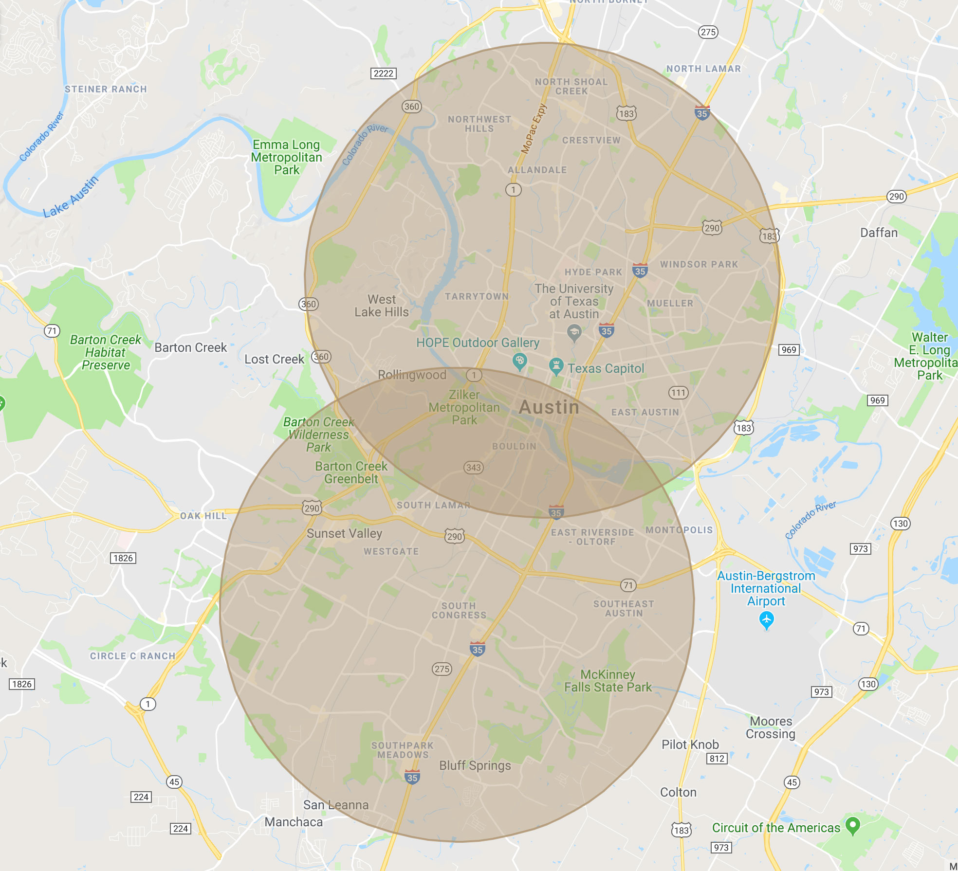 Travel fees radius map for The Breastfeeding Success Company